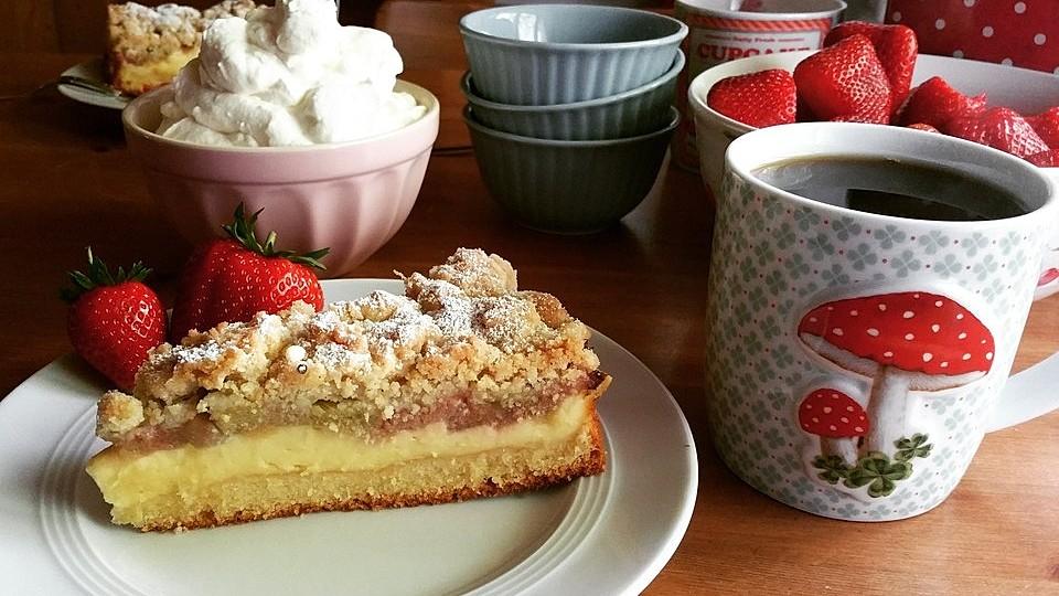 Rhabarberkuchen mit Vanillecreme und Streusel von speedymaus | Chefkoch