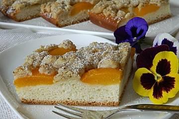 Hefekuchen mit Aprikosen und Streuseln