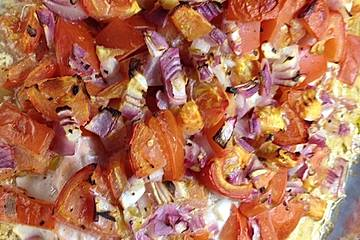 Lachs mit Tomatendecke im Backofen