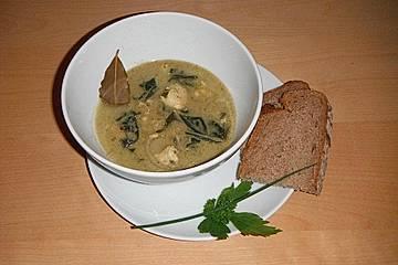 Mangold-Maronen-Suppe mit Fisch