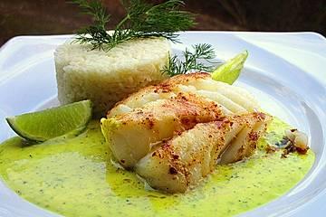 Fisch mit Dill-Curry-Honig-Sauce