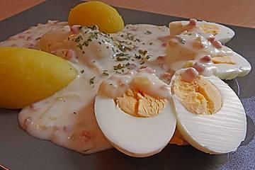 Nicis Eier in süß-saurer Specksoße
