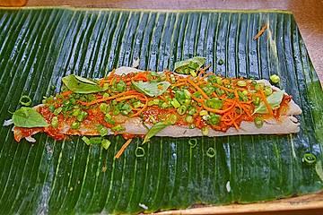 Fischfilet im Bananenblatt gegrillt, thailändische Art