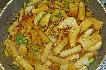 Curry-Kokos-Kohlrabi mit Minze
