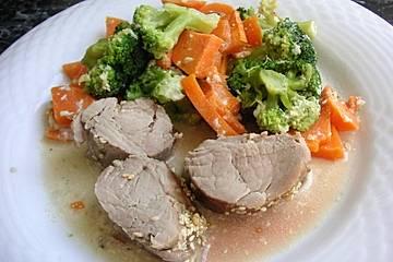 Einöder Schweinsfilet auf Brokkoli-Süßkartoffel-Gemüse