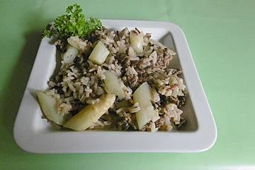 Spargel-Hackfleischpfanne mit Reis