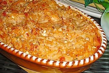 Spaghettiauflauf mit Hüttenkäse und Tomaten
