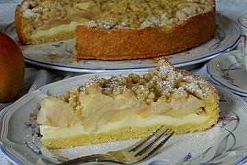 Dirks Apfelkuchen mit Vanillepudding und Zimtstreuseln