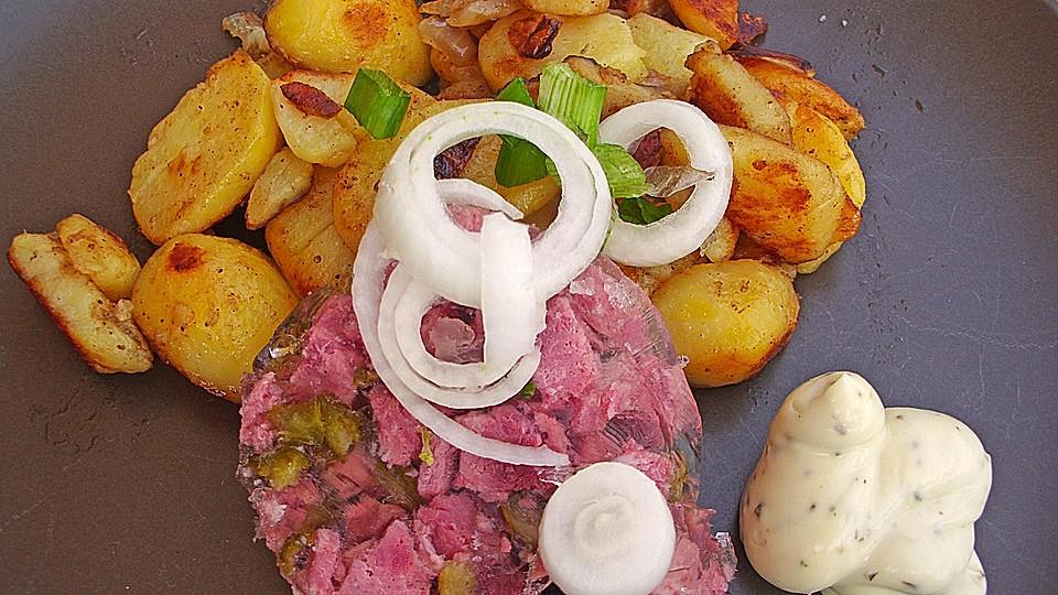 Bratkartoffeln sülze martina mit moritz und Rindfleischsülze hausgemacht