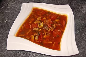 Spanische Pilzsuppe mit Chorizo