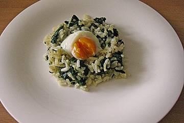 Onsen-Ei auf Spinat-Risotto