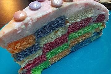 Bunte Regenbogen-Schachbrett-Torte