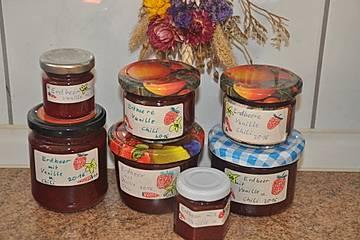 Erdbeermarmelade mit Vanille und Chili