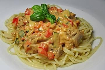 Spaghetti mit Austernpilzen und Pestosahne