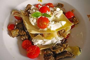 Offene Auberginenlasagne mit Ziegenkäse - die etwas andere Gemüselasagne