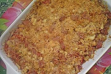 Chicoree mit Tomaten, überbacken mit Käse und Schinken
