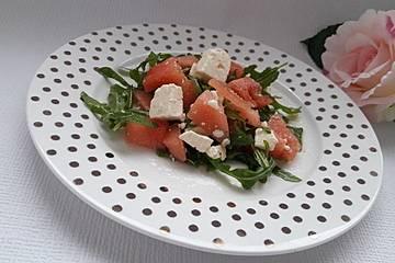 Wassermelonensalat mit Feta und Rucola