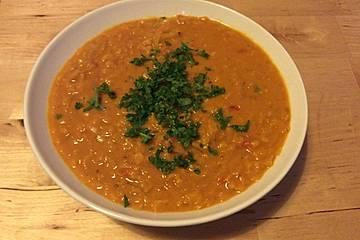 Rote Linsen-Curry-Suppe mit Kokosmilch für Faule