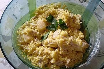 Hähnchen-Curry-Reis-Salat