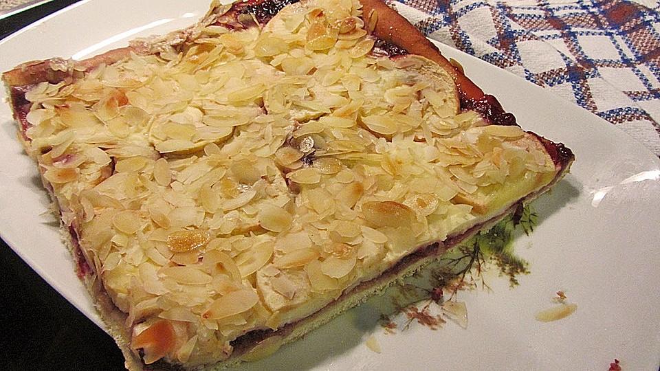 Blechkuchen mit mandeln Apfel