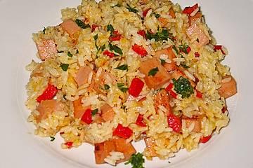 Füssener Reispfanne mit Fleischkäse und Käse