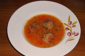 Karotten-Kartoffel Suppe mit Hackbällchen