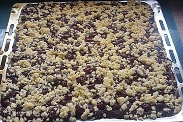 Kirsch-Pfirsich-Schoko Streuselkuchen