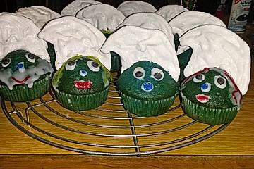 Schlumpf-Muffins mit Baiser-Mützen