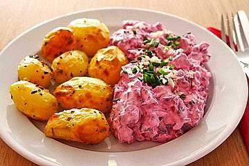 Ofenkartoffeln mit Rote Bete-Schmand