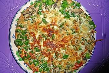 Vollkornhafer-Pfannenpizza vegetaria-pikanta