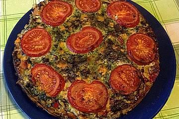 Spinatquiche mit Gorgonzola und getrockneten Tomaten