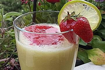 Melonen-Orangen-Erdbeersmoothie