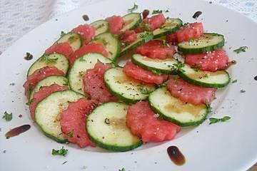 Gurke-Wassermelone-Carpaccio