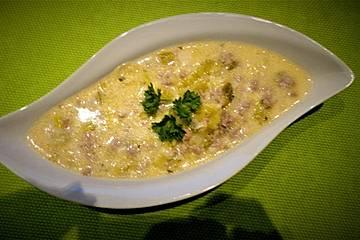 Hack-Käse-Porree-Suppe