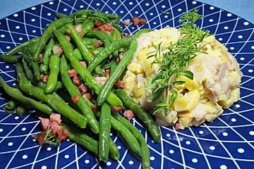 Grüne Bohnen mit Speck und Matjes-Tatar