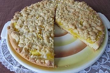 Mango Streuselkuchen mit Vanillecreme