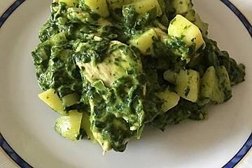 Kartoffel-Spinat-Curryhähnchen-Topf