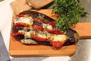 Auberginen-Tomaten-Fächer aus dem Ofen