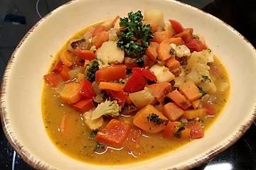 Vegane Gemüse-Erdnuss-Mandel-Pfanne