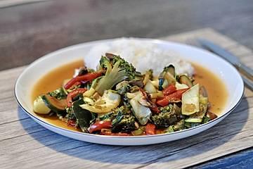 Gemüse-Stir Fry mit Honig-Soja-Sauce