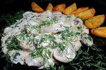 Champignonpfanne mit Frischkäse