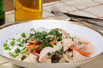 Hühnerfrikassee - Ragout aus Hühnchen, Spargel und Pilzen