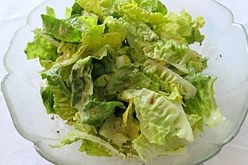 Kopfsalat mit fruchtiger Salatsoße aus Zitrone