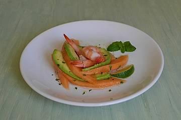 Avocado-Melonen-Salat mit Shrimps