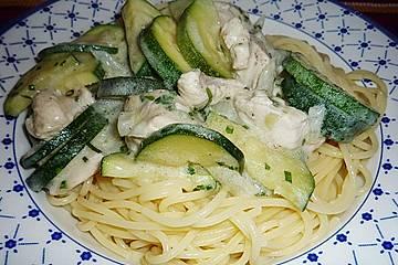 Spaghetti und Rahm - Zucchini