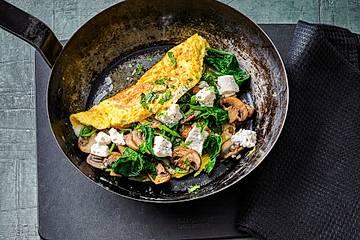 Omelett mit Champignon-Spinat-Füllung