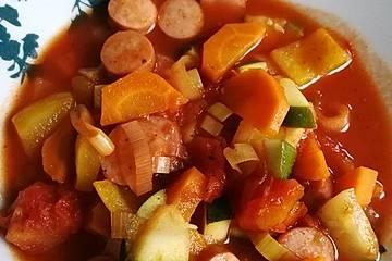 Low-Carb Würstchen-Gemüse-Pfanne