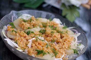 Harzer Käse an Fenchel-Linsen-Salat