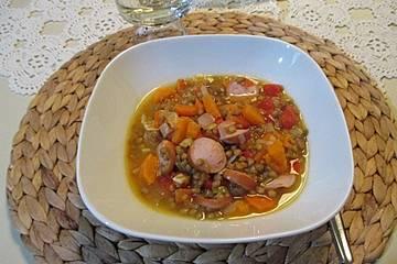 Linseneintopf mit Paprika und Süßkartoffel
