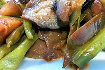 Geschmorte Auberginen und Bohnen aus Nordchina